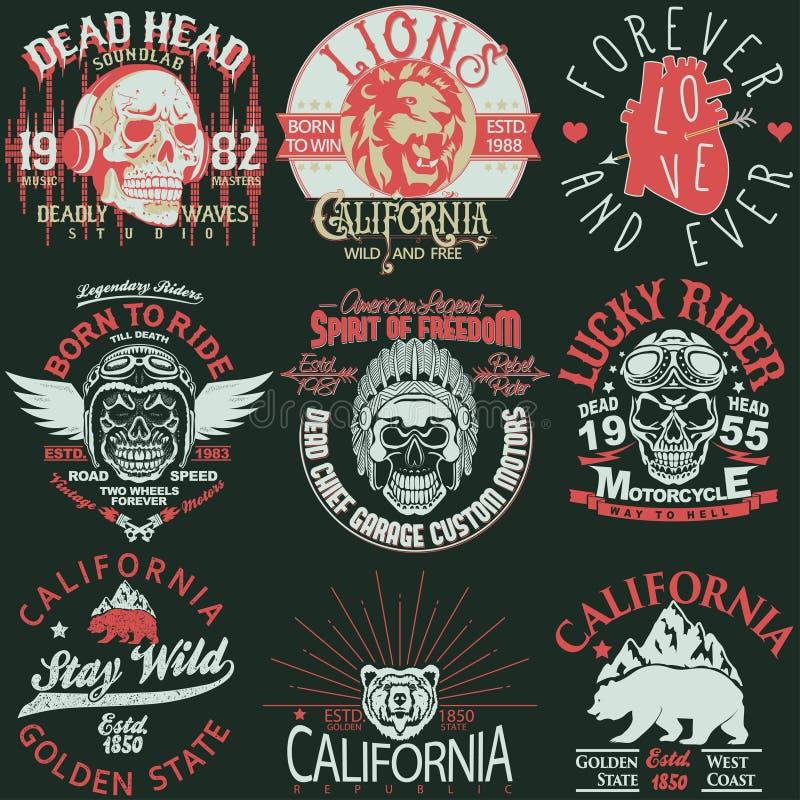 Комплект графика штемпеля футболки, комплект эмблемы оформления носки спорта Калифорнии вектор иллюстрация штока