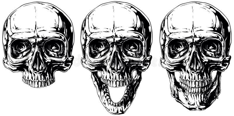Комплект графической черно-белой человеческой татуировки черепа бесплатная иллюстрация