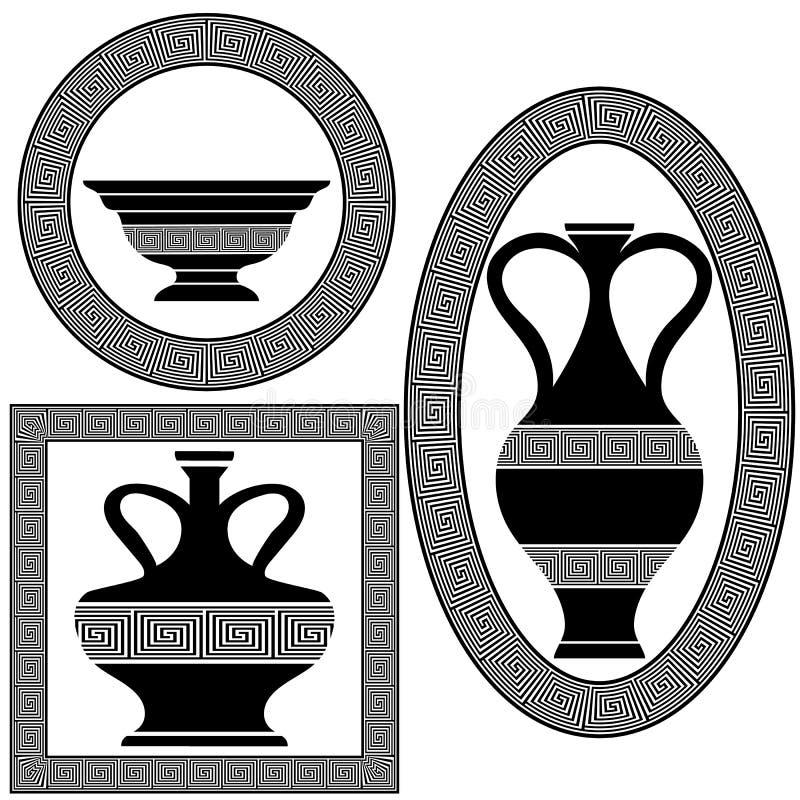 Комплект греческих рамок иллюстрация вектора