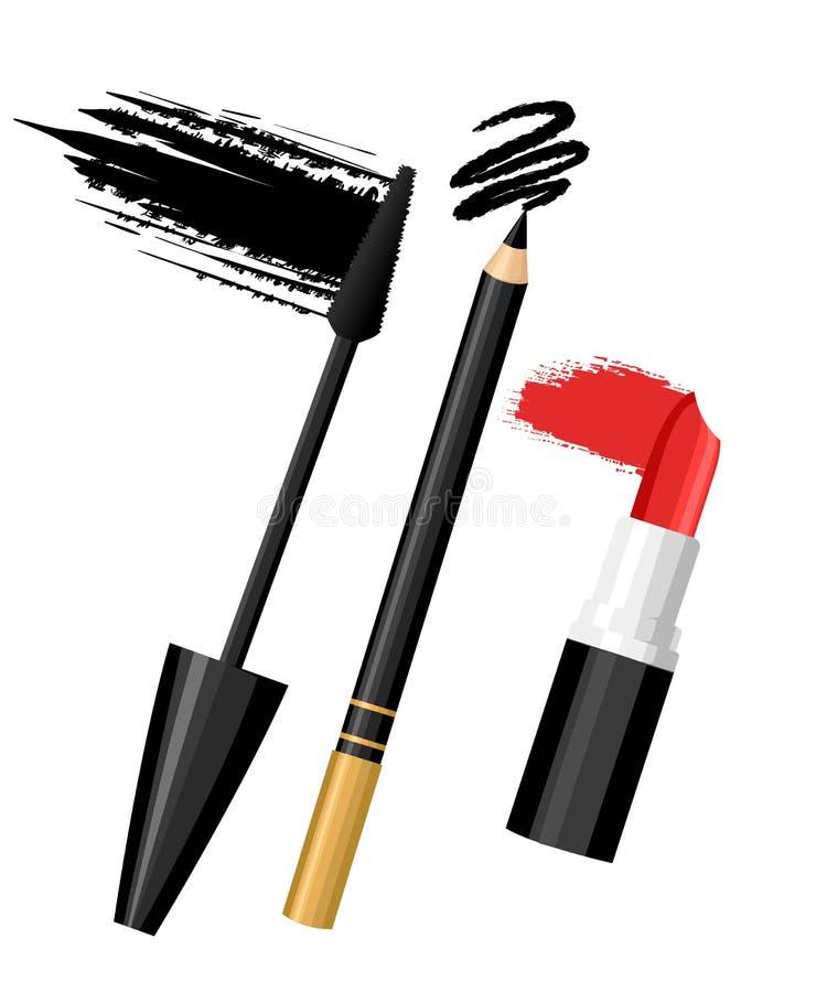 Комплект губы глаза цвета составляет Vector очарование состава эскиза моды contrasty в стиле моды Изолированные элементы на белой иллюстрация вектора