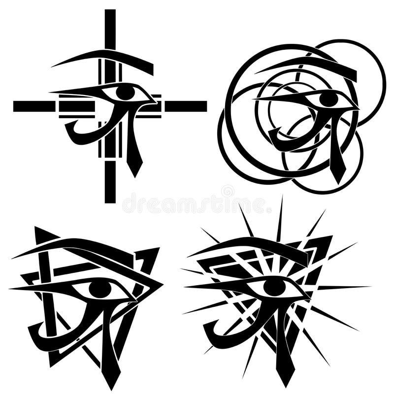 Комплект глаза изолированной татуировки Rha в черноте иллюстрация штока