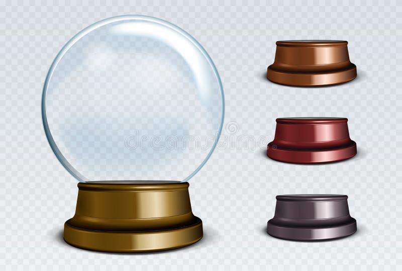 Комплект глобуса снега вектора пустой Белая прозрачная стеклянная сфера иллюстрация вектора