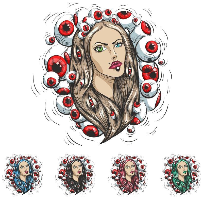 Комплект Девушки с волосами цвета иллюстрация штока