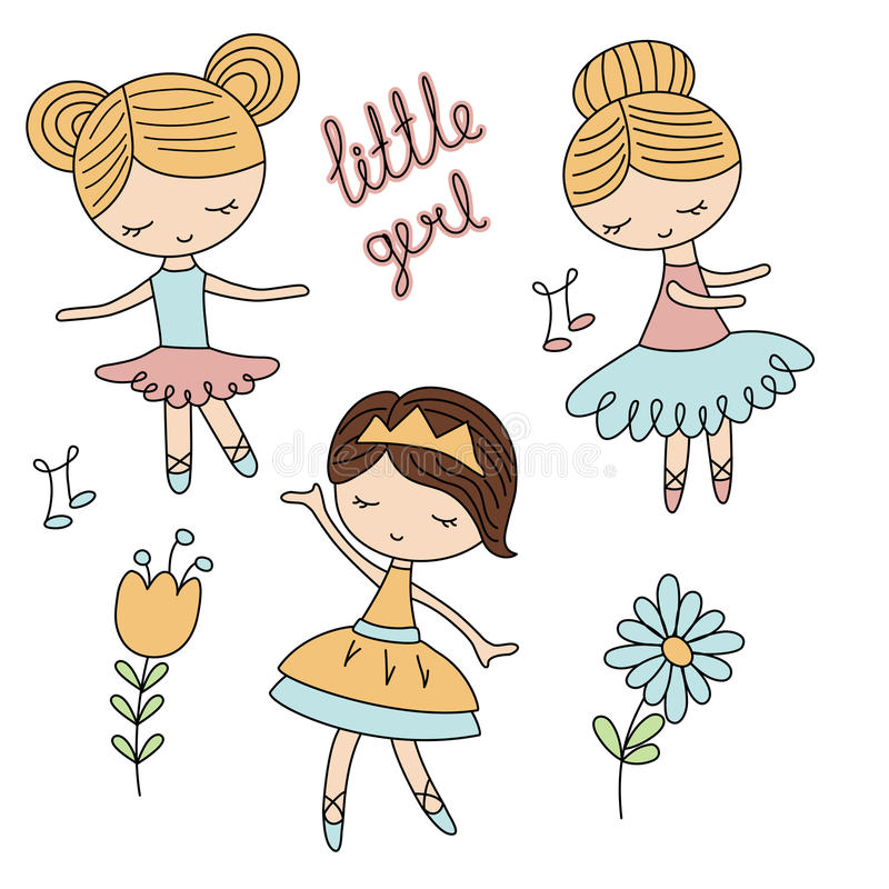 Комплект девушек шаржа бесплатная иллюстрация
