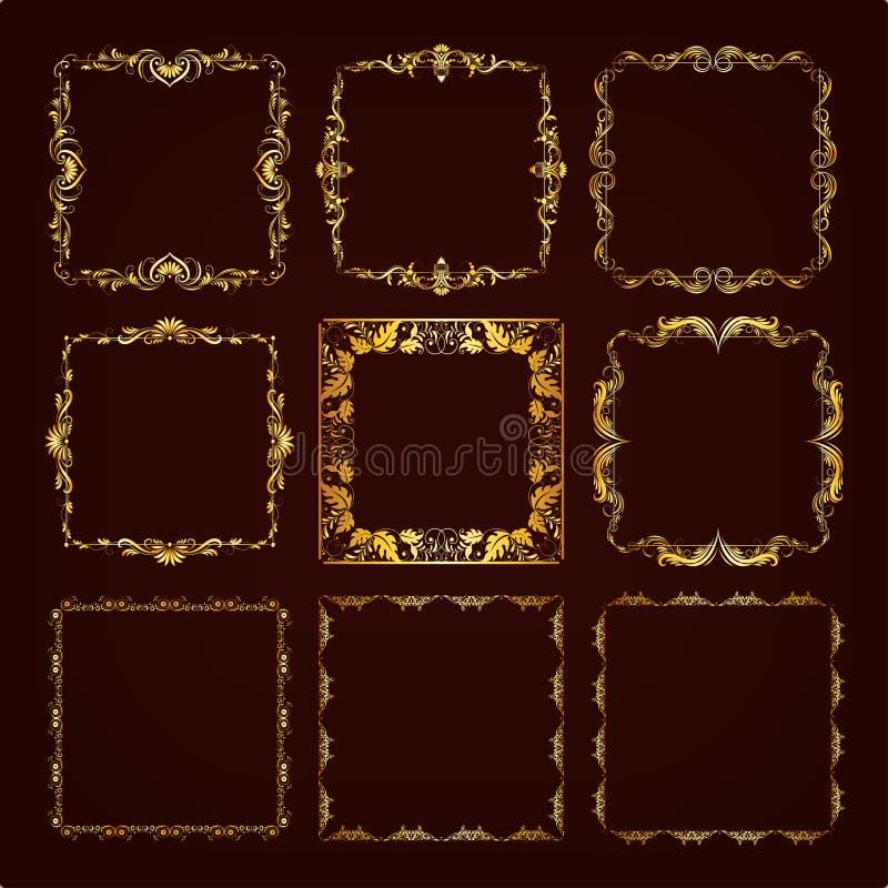 Комплект декоративной рамки нарисованной рукой иллюстрация вектора