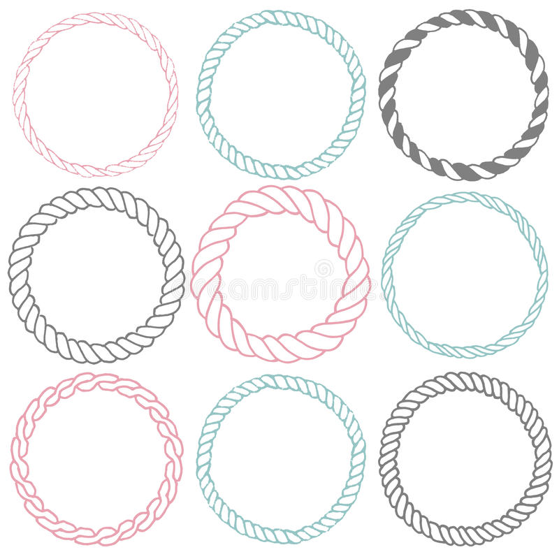 Комплект 9 декоративных рамок границы круга иллюстрация вектора