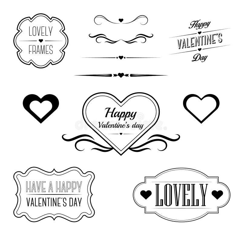 Комплект декоративных рамок, поет и границы связанные к дню валентинки иллюстрация штока