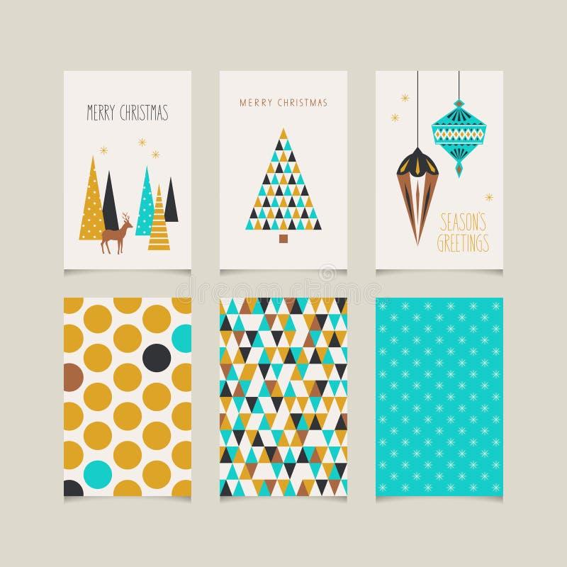 Комплект декоративных рождественских открыток с передней и задней стороной иллюстрация штока