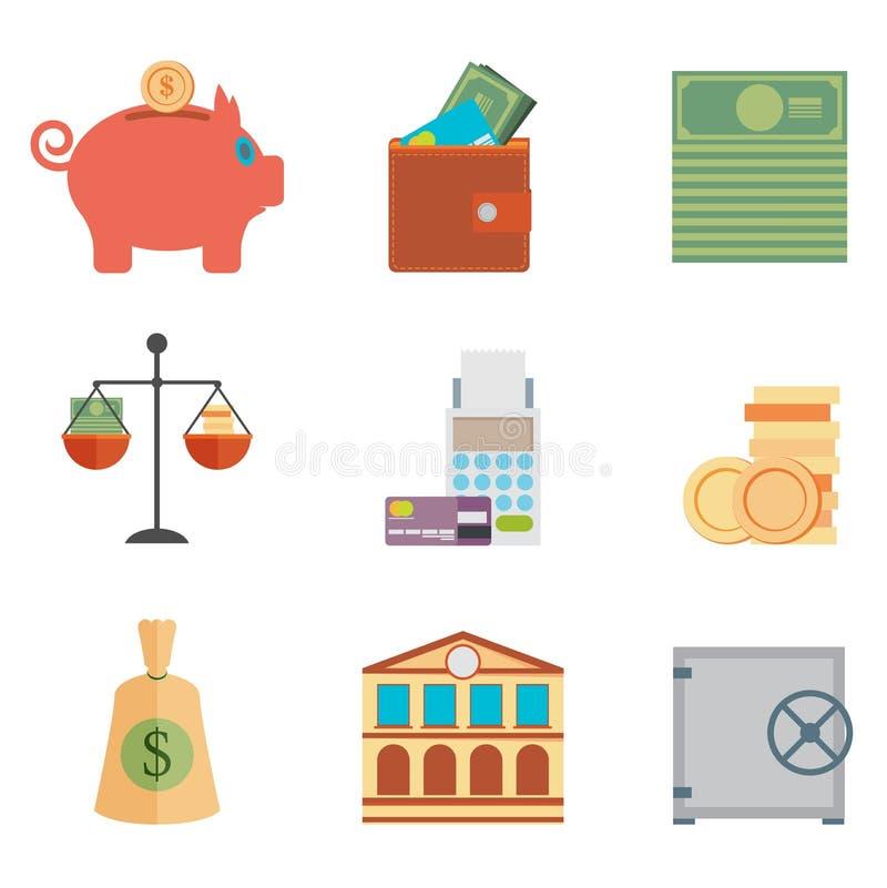 Комплект денег, финансы, креня стиль дизайна значков плоский иллюстрация штока