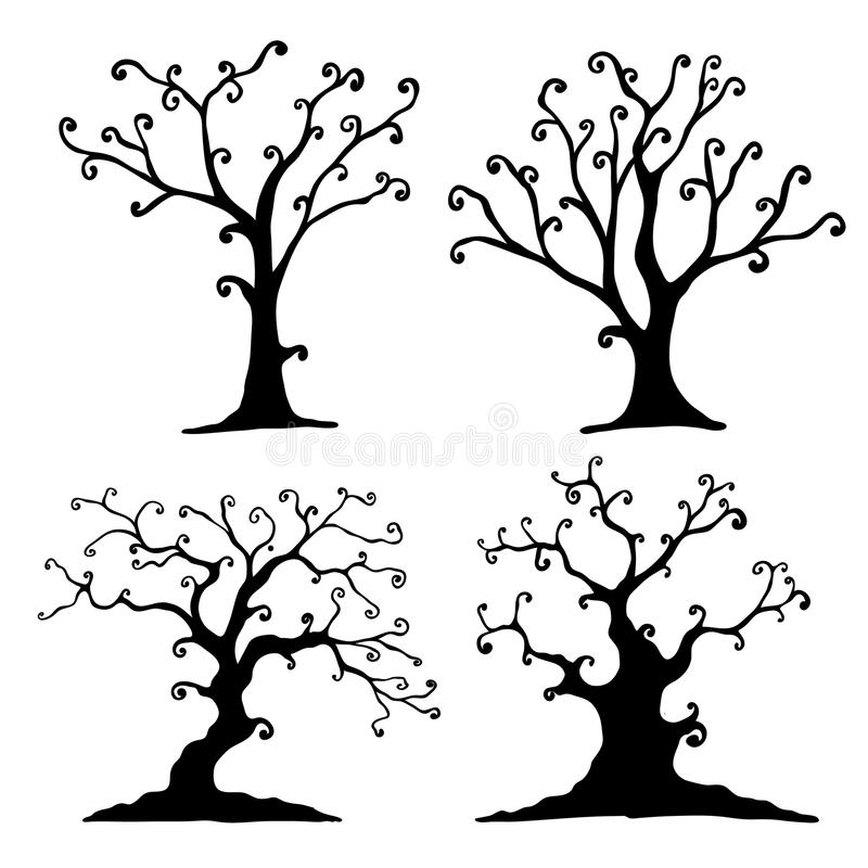 Комплект дерева хеллоуина иллюстрация штока