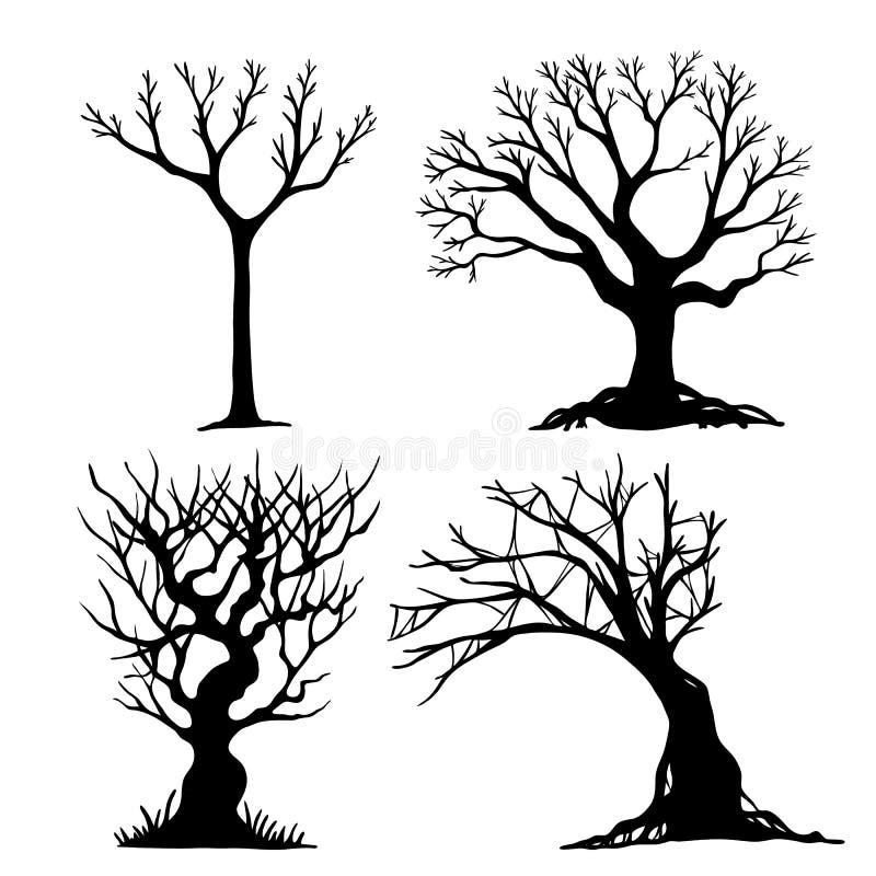 Комплект дерева хеллоуина бесплатная иллюстрация