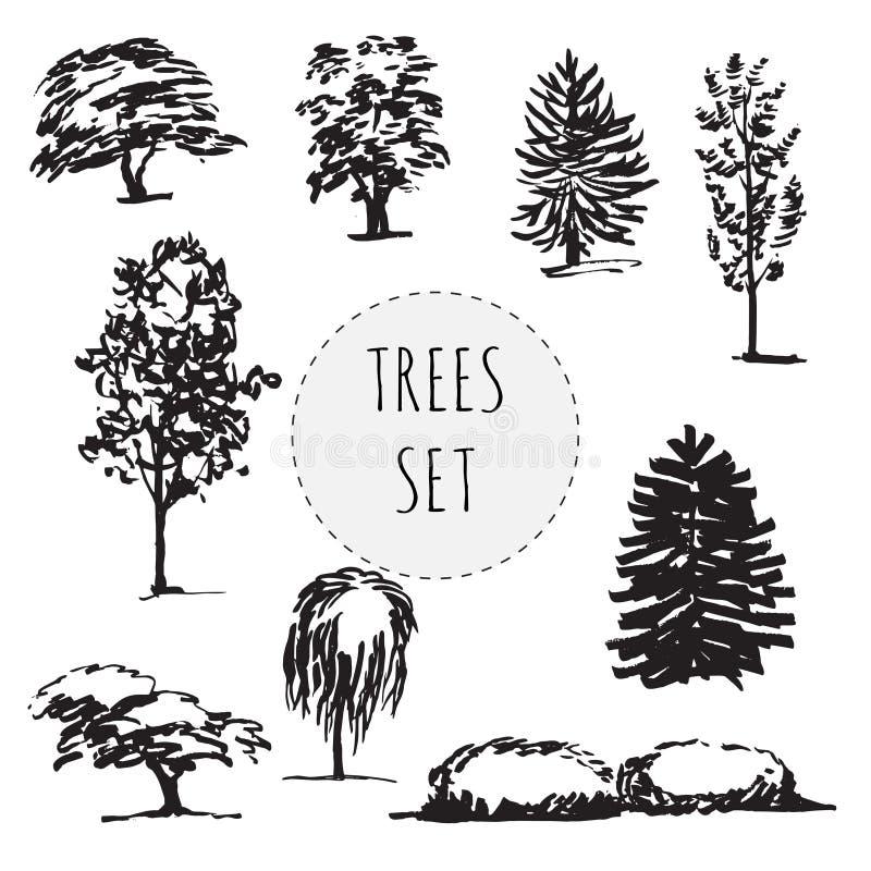 Комплект деревьев разных видов нарисованных рукой бесплатная иллюстрация