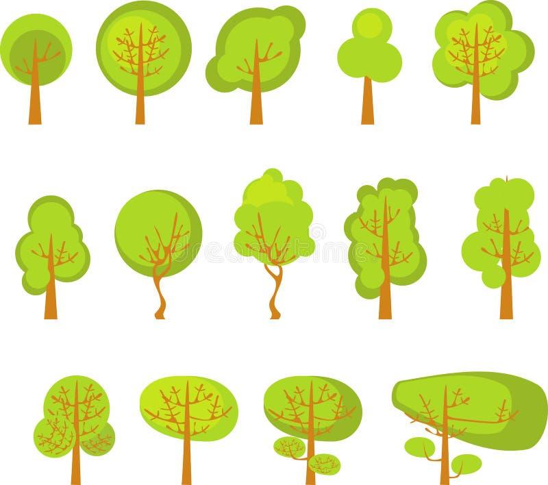 Комплект деревьев иллюстрация вектора