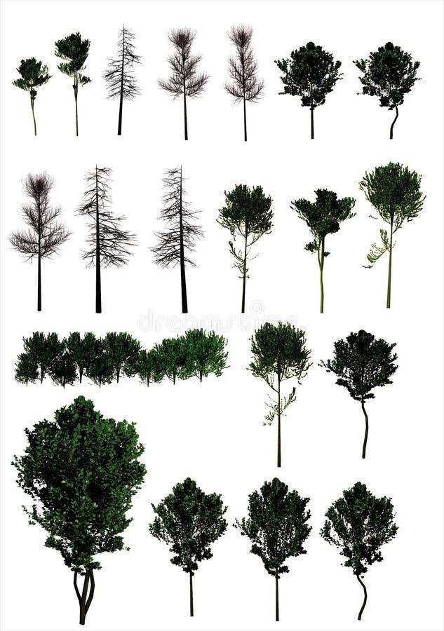 Комплект деревьев. (PNG) иллюстрация вектора