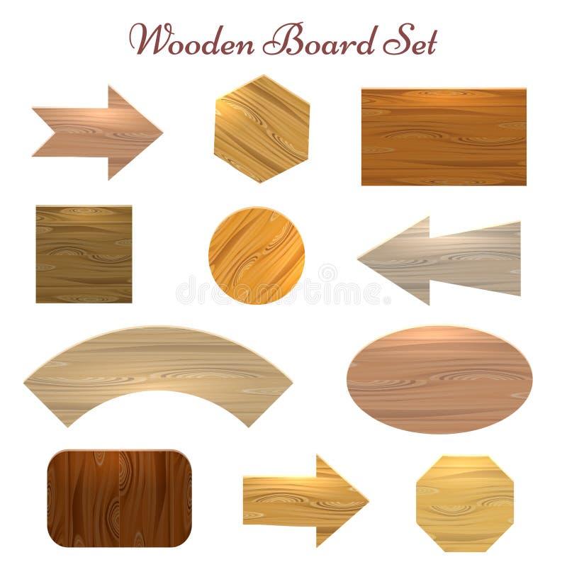 Комплект деревянной доски иллюстрация вектора