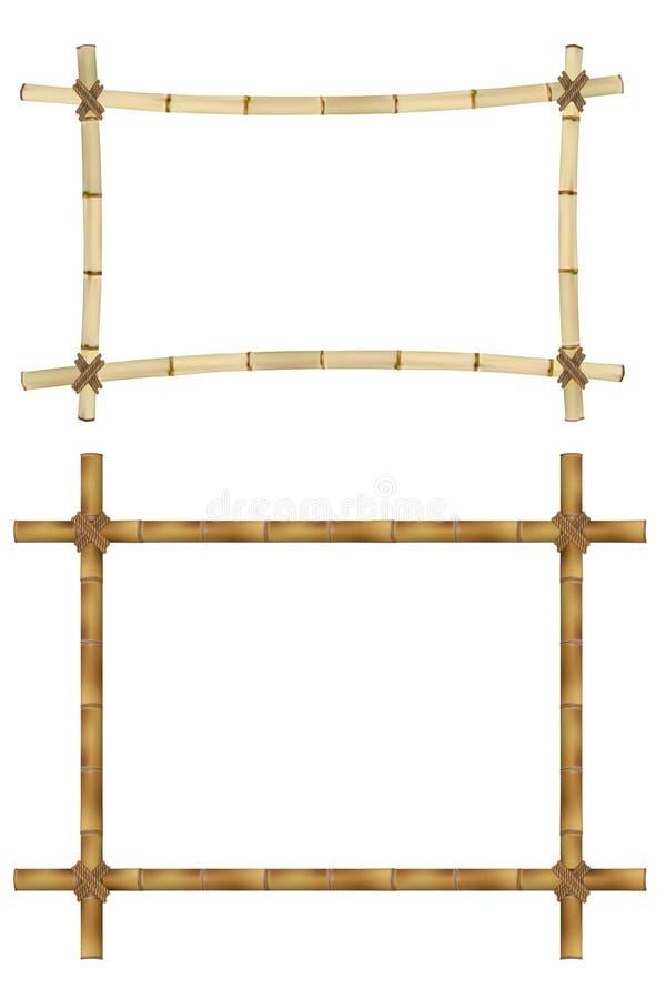 Комплект деревянной рамки старых бамбуковых ручек иллюстрация вектора
