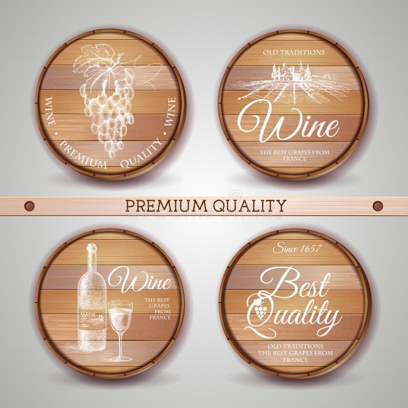 Комплект деревянных бочек с ярлыком вина иллюстрация вектора