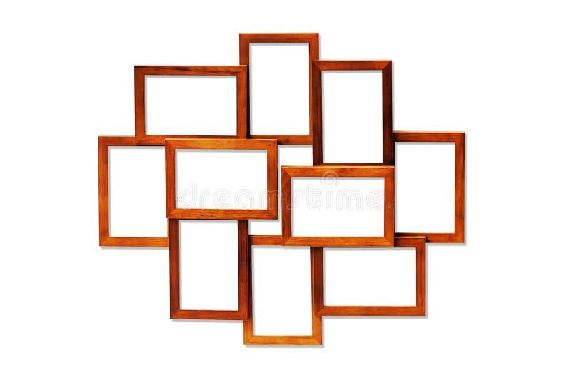 Комплект деревянных изолированных рамок стоковые фотографии rf