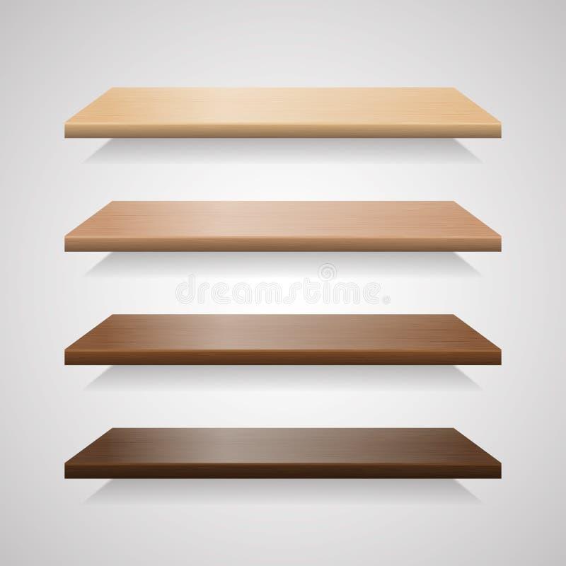 Комплект деревянных полок с тенями бесплатная иллюстрация
