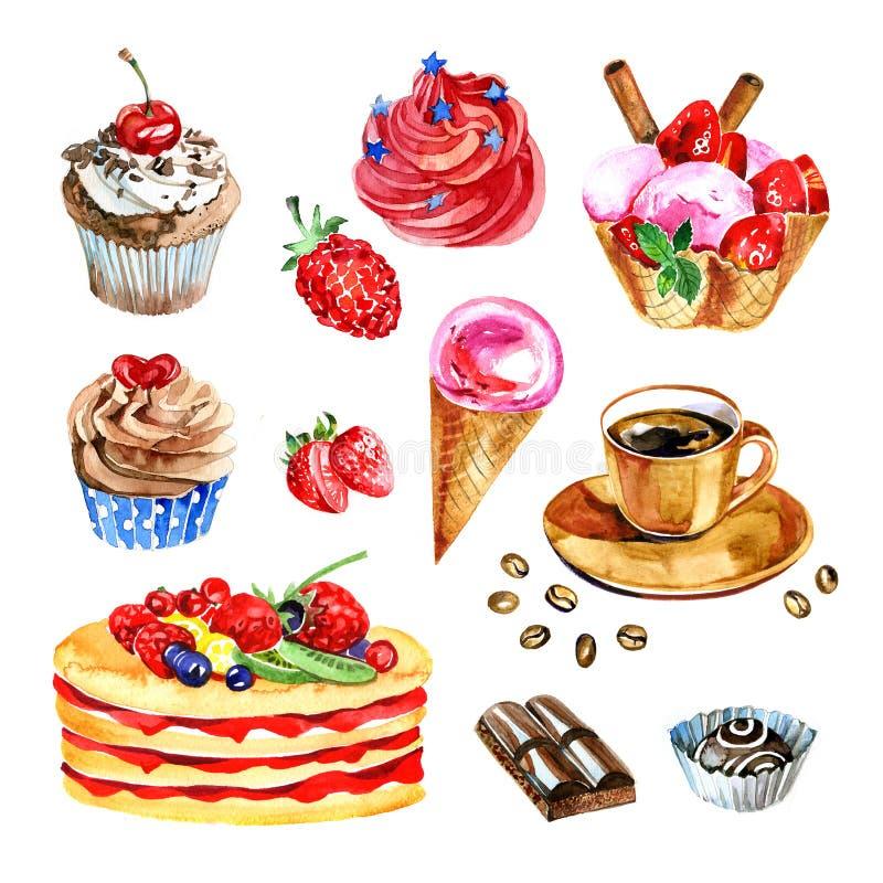Комплект десертов акварели, шоколад, кофе, иллюстрация пирожного иллюстрация вектора