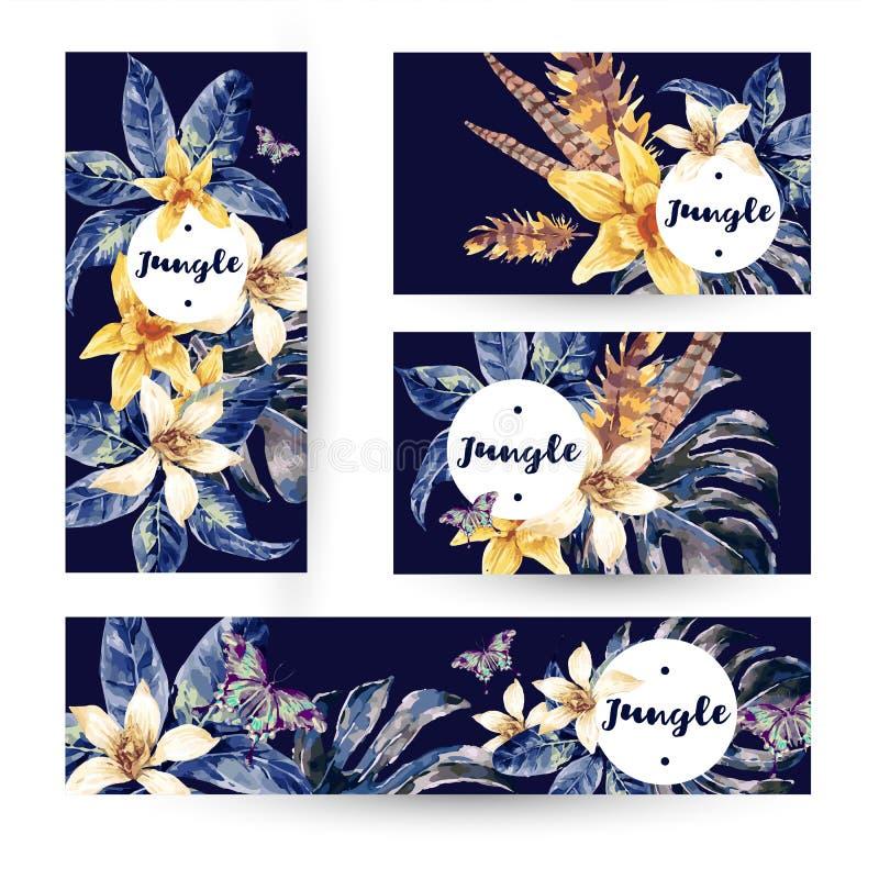 Комплект лета карточек с тропическими зелеными листьями бесплатная иллюстрация