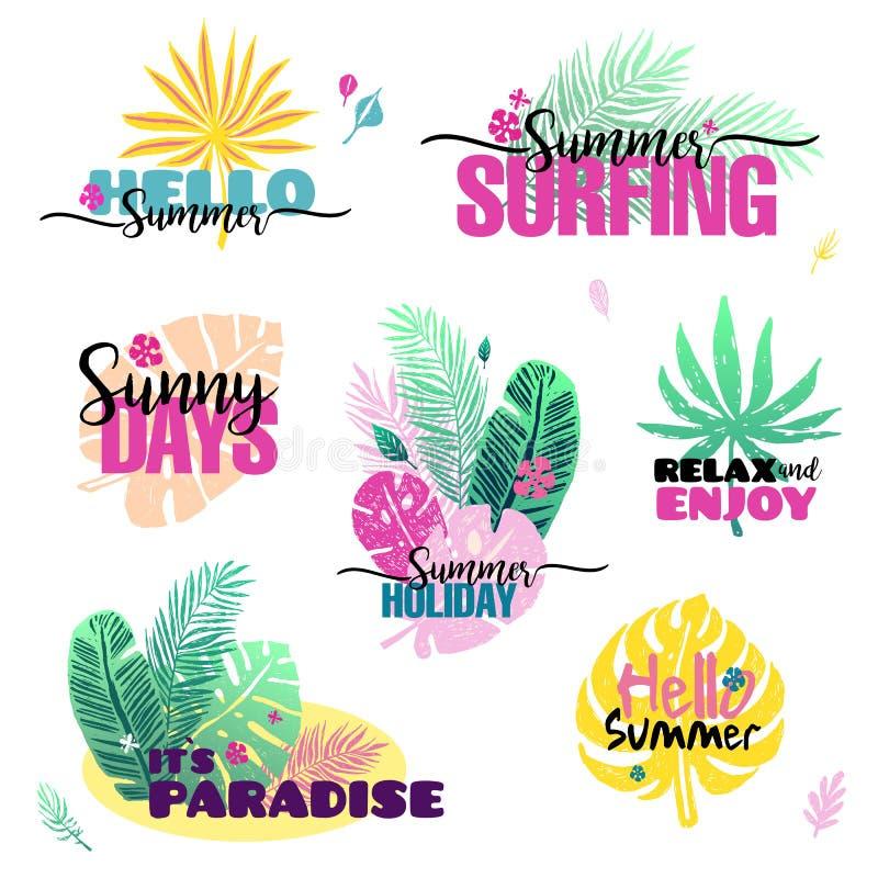 Комплект лета с ярлыками пальм, логотипами, бирками и элементами, на летний отпуск, перемещение, каникулы пляжа вектор иллюстрация вектора