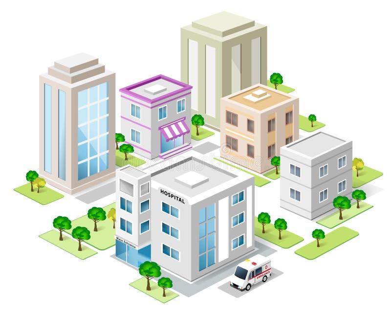 Комплект детальных равновеликих зданий города город вектора 3d равновеликий иллюстрация вектора