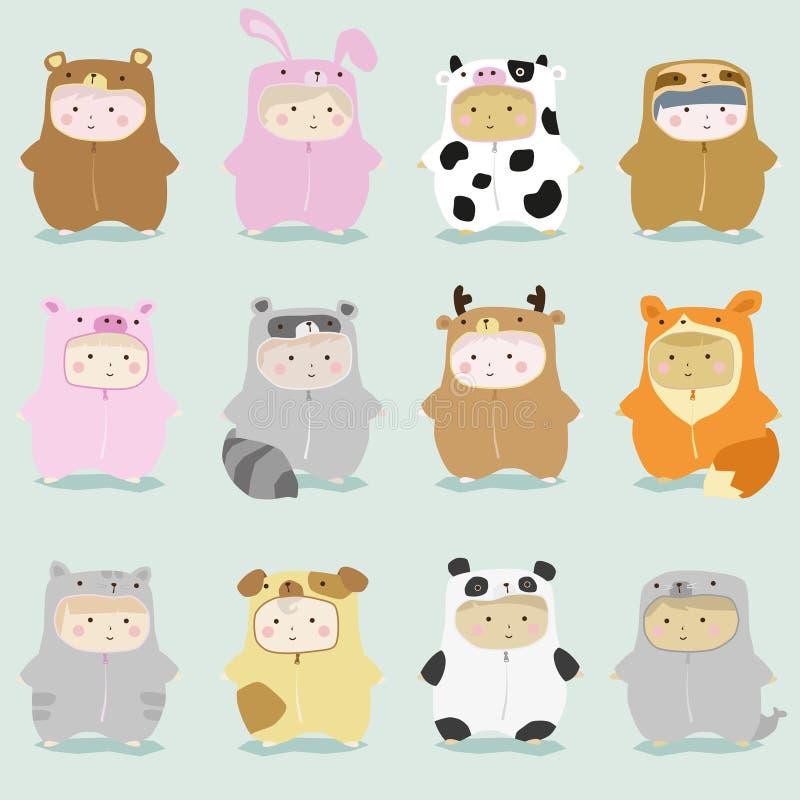 Комплект детей в милых костюмах 1 животного бесплатная иллюстрация