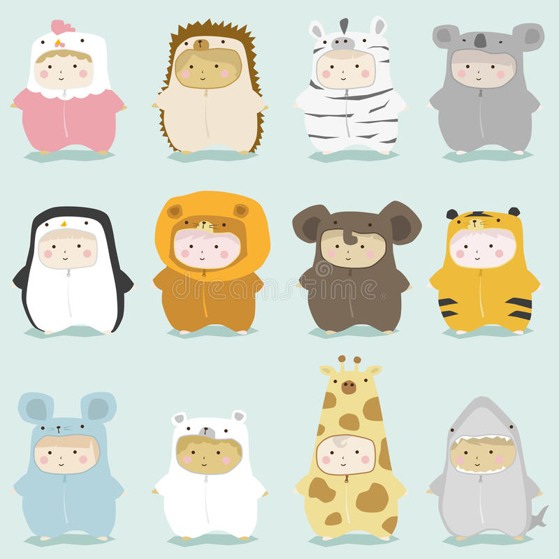 Комплект детей в милых костюмах 2 животного иллюстрация вектора