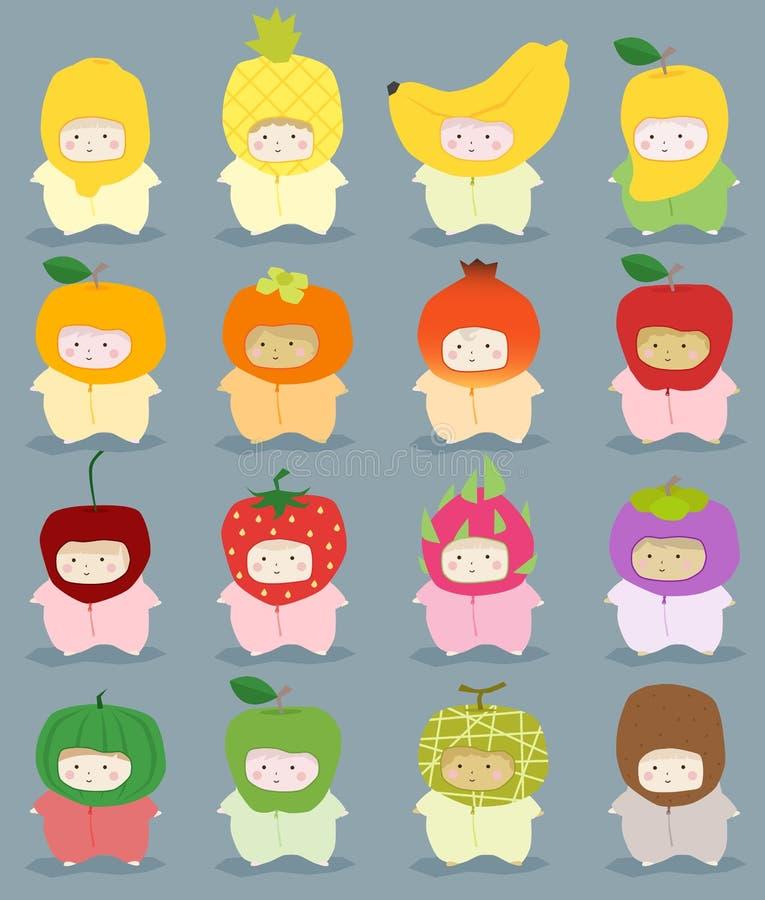 Комплект детей в милых костюмах плодоовощ иллюстрация штока
