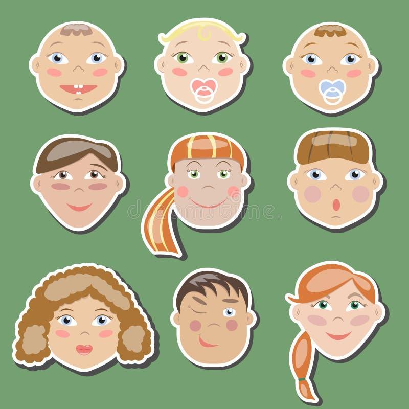 Комплект детей различных времен стоковые изображения