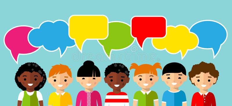 Комплект детей с красочной речью диалога клокочет бесплатная иллюстрация