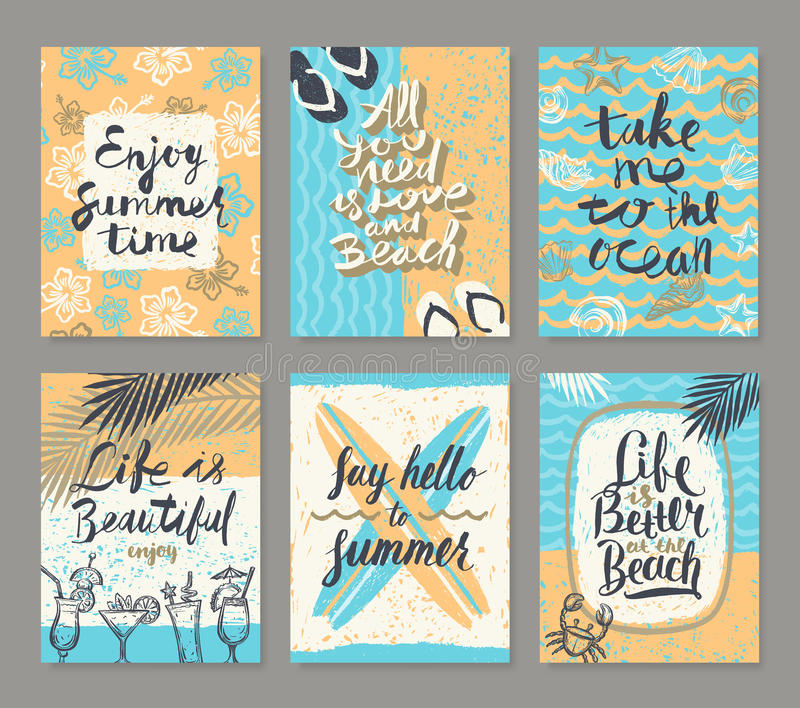 Комплект летних отпусков и тропических плакатов каникул или поздравительной открытки иллюстрация штока