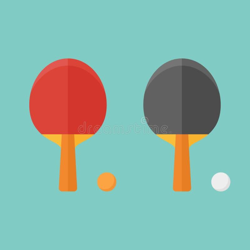 Комплект летучих мышей и шариков настольного тенниса Плоская иллюстрация вектора стиля иллюстрация вектора