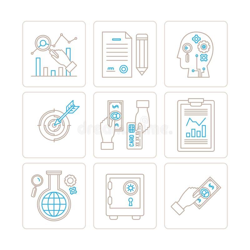 Комплект дела вектора или значков и концепций финансов в mono тонкой линии стиле бесплатная иллюстрация