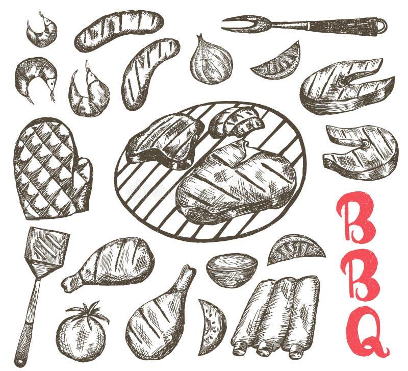 Комплект еды эскиза гриля Еда BBQ сосиски, нервюры, креветка, семга, стейк, овощи, цыпленок иллюстрация вектора