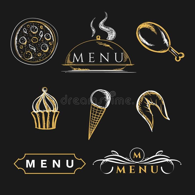 Комплект еды элементов дизайна питательной кулинарной для брошюр иллюстрация штока