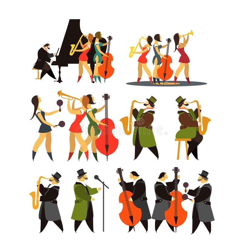 Комплект джаз-бэндов иллюстрация вектора
