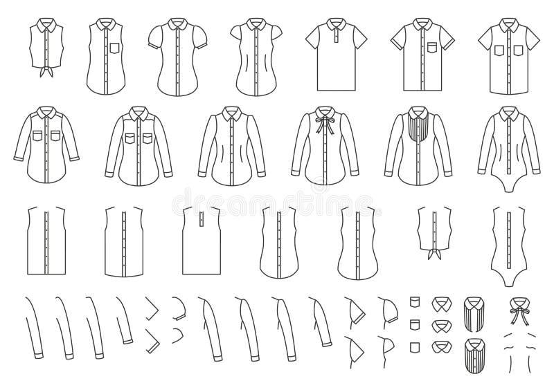 Комплект женских и мужских рубашек, элементов для совмещать иллюстрация вектора
