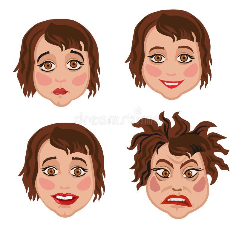 Комплект 4 женщин выражений лица иллюстрация штока