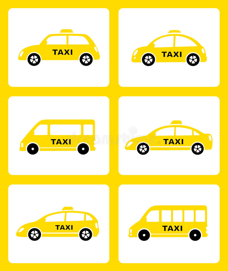 Комплект желтого значка автомобиля такси бесплатная иллюстрация