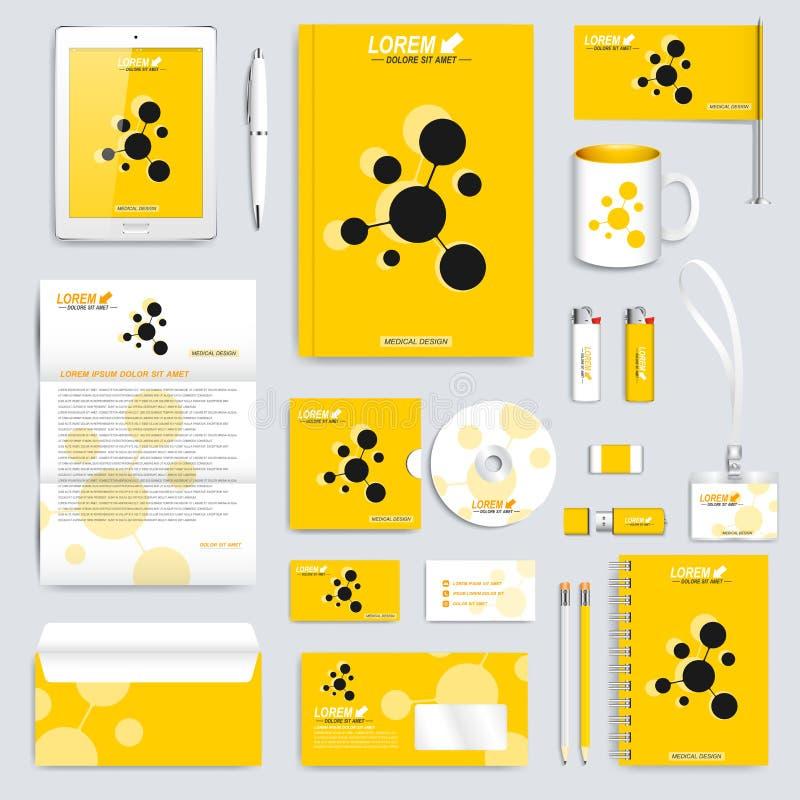 Комплект желтого цвета шаблона фирменного стиля вектора Современный модель-макет канцелярских принадлежностей дела Клеймя дизайн  иллюстрация штока
