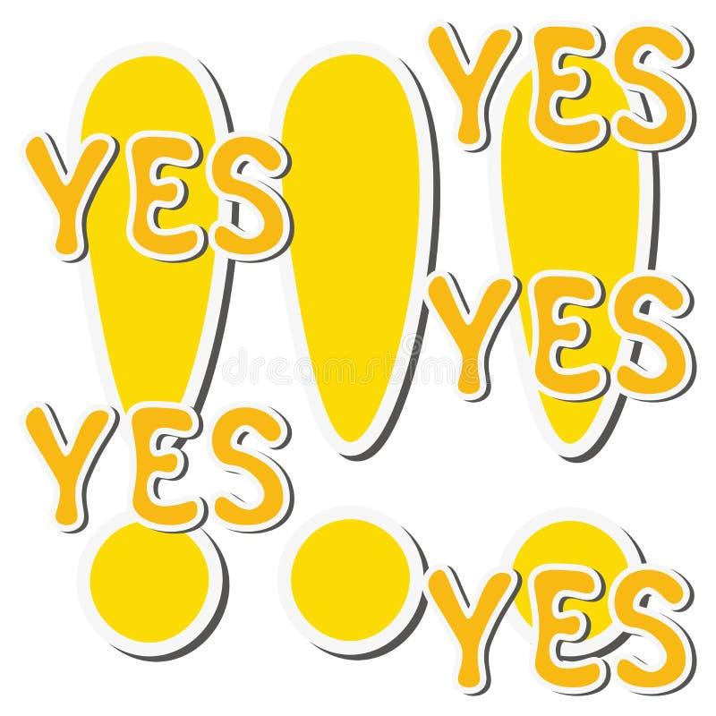 Комплект желтых восклицательного знака и слова стикера да бесплатная иллюстрация