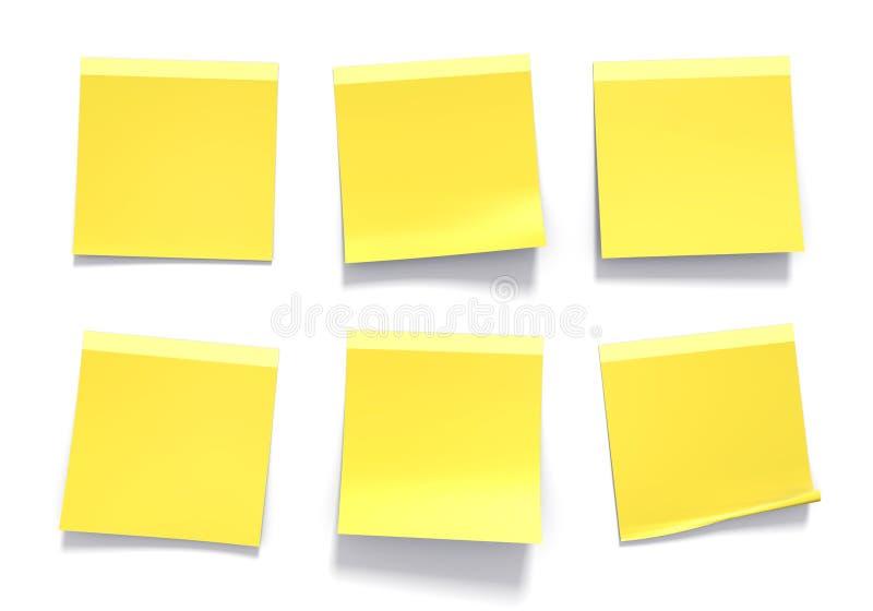 Комплект желтых липких примечаний используемых в офисе для напоминаний и важной информации иллюстрация штока