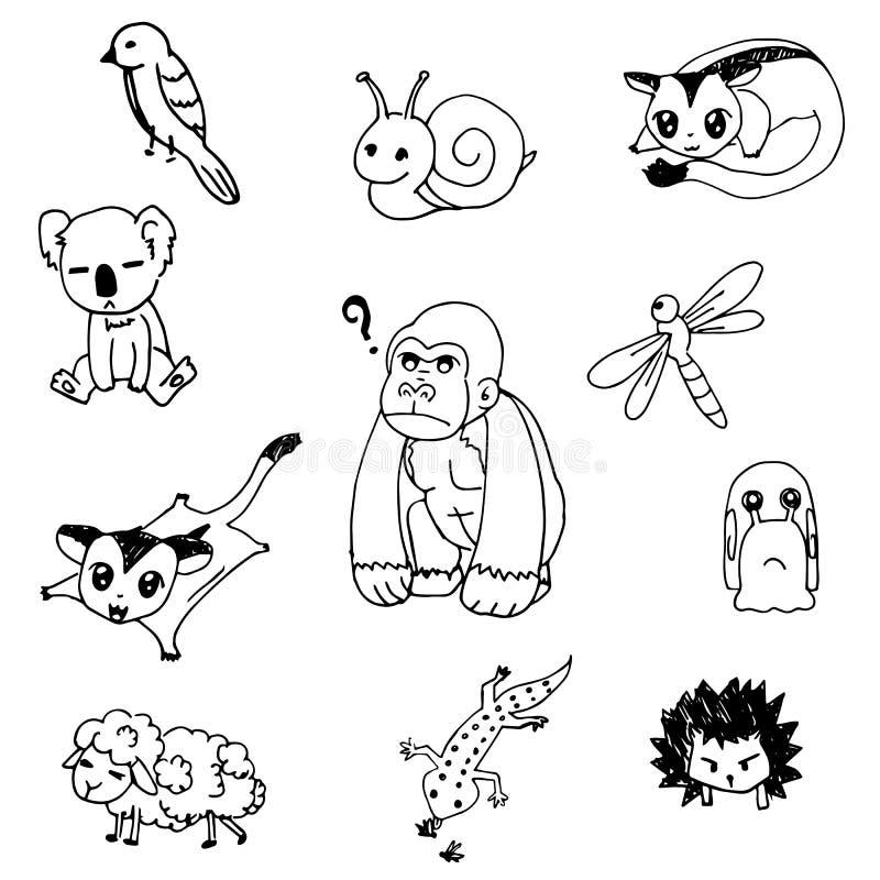 Комплект животного вектора плана чертежа doodle иллюстрация штока