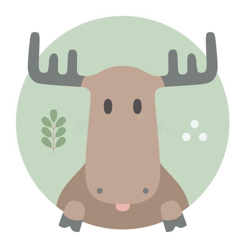 Комплект животного Портрет в плоских графиках лоси иллюстрация вектора