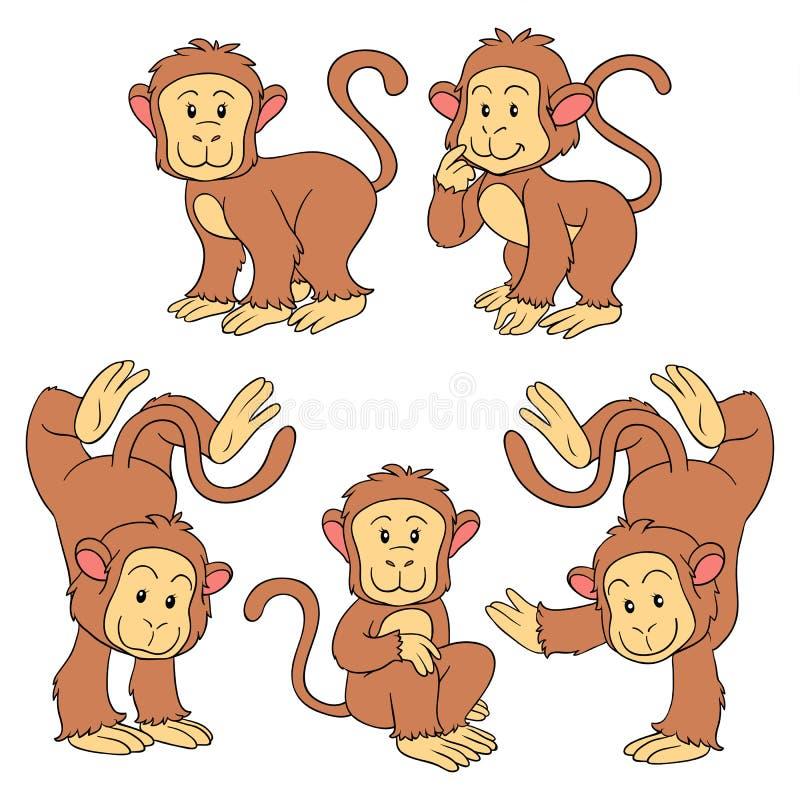 Комплект животных вектора (обезьяны) иллюстрация вектора