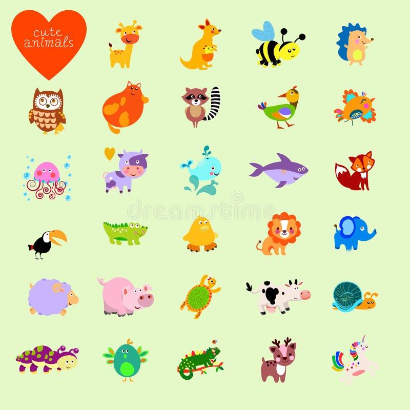 Комплект животных вектора смешных в стиле шаржа иллюстрация штока