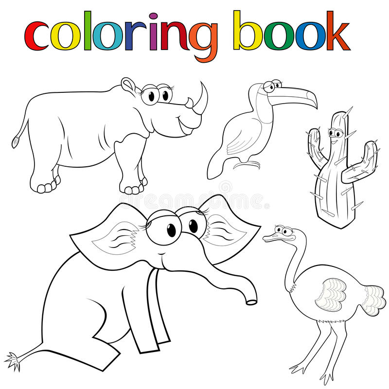 Комплект животных и кактуса для книжка-раскраски иллюстрация вектора