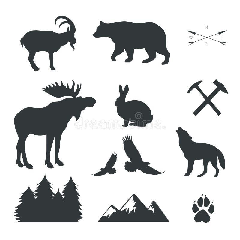 Комплект животных, одичалых зверей, vactor стоковые изображения